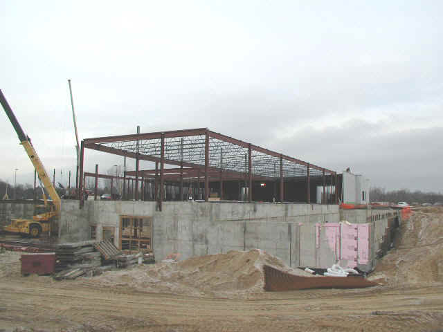 West walls going up. December 5, 2000